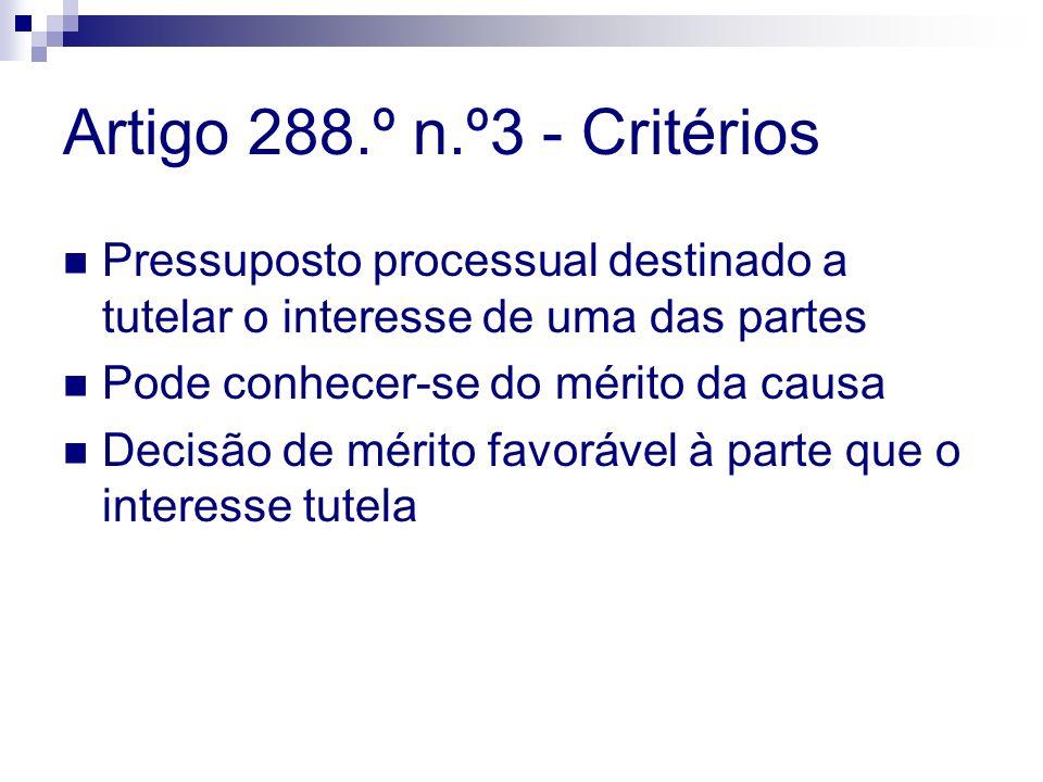 Artigo 288.º n.º3 - Critérios Pressuposto processual destinado a tutelar o interesse de uma das partes Pode conhecer-se do mérito da causa Decisão de