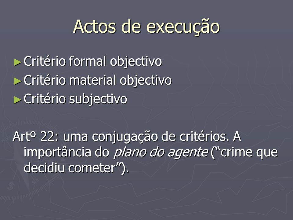 Actos de execução Critério formal objectivo Critério formal objectivo Critério material objectivo Critério material objectivo Critério subjectivo Critério subjectivo Artº 22: uma conjugação de critérios.