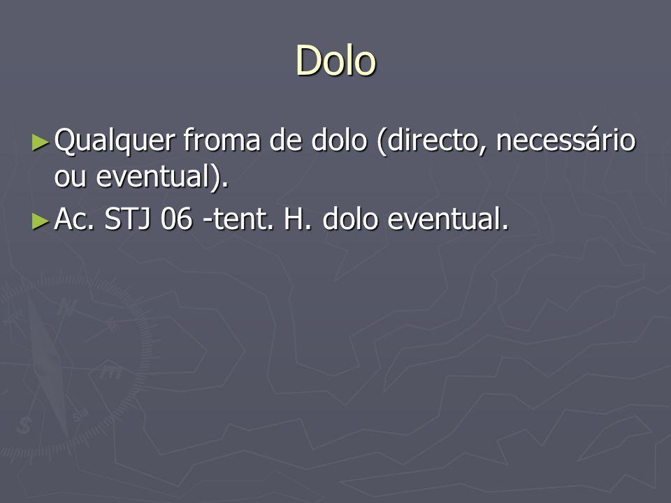 Dolo Qualquer froma de dolo (directo, necessário ou eventual).