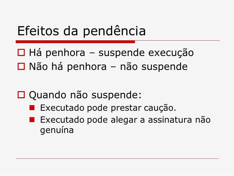 Efeitos da pendência Há penhora – suspende execução Não há penhora – não suspende Quando não suspende: Executado pode prestar caução. Executado pode a