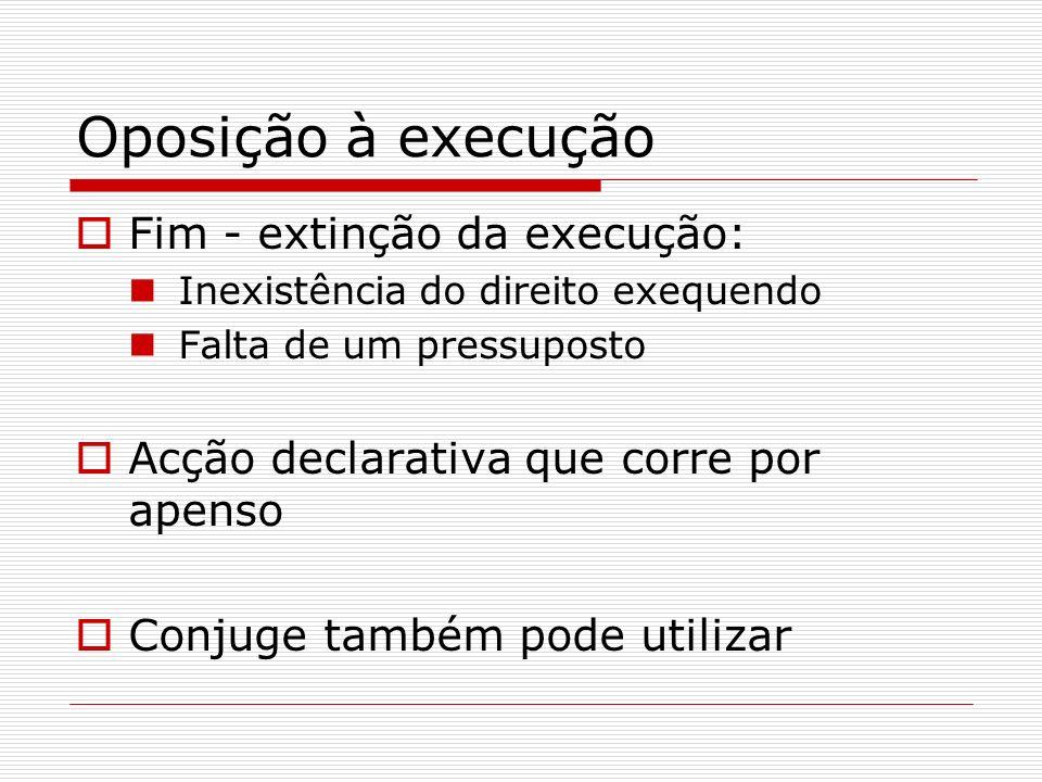 Fim - extinção da execução: Inexistência do direito exequendo Falta de um pressuposto Acção declarativa que corre por apenso Conjuge também pode utili