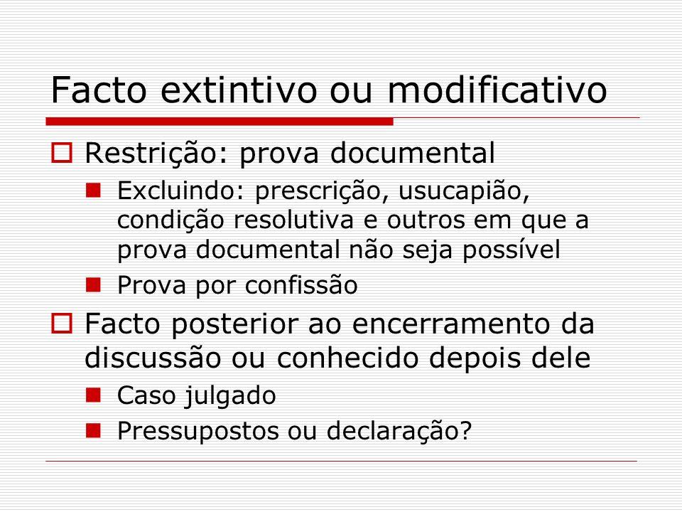 Facto extintivo ou modificativo Restrição: prova documental Excluindo: prescrição, usucapião, condição resolutiva e outros em que a prova documental n