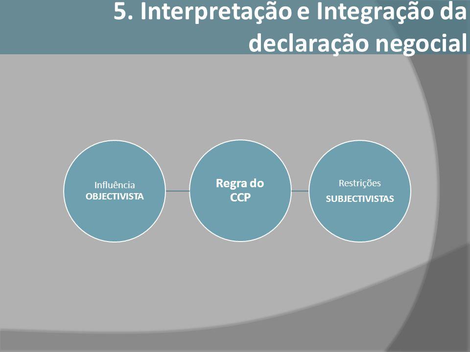 Regra do CCP Influência OBJECTIVISTA Restrições SUBJECTIVISTAS 5. Interpretação e Integração da declaração negocial