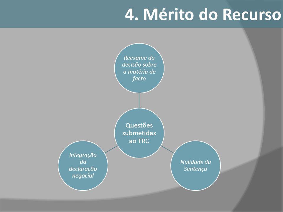 Questões submetidas ao TRC Reexame da decisão sobre a matéria de facto Nulidade da Sentença Integração da declaração negocial 4. Mérito do Recurso
