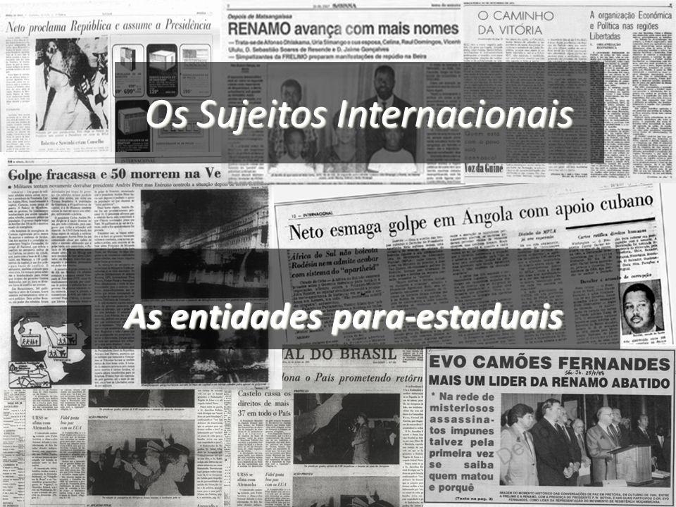Os Sujeitos Internacionais Entidades para -estaduais Os beligerantes e os insurrectos As minorias nacionais e os governos no exílio As regiões infra-estaduais