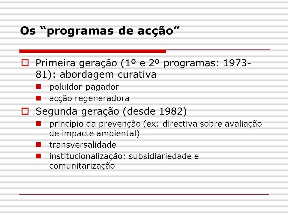 Os programas de acção Primeira geração (1º e 2º programas: 1973- 81): abordagem curativa poluidor-pagador acção regeneradora Segunda geração (desde 1982) princípio da prevenção (ex: directiva sobre avaliação de impacte ambiental) transversalidade institucionalização: subsidiariedade e comunitarização
