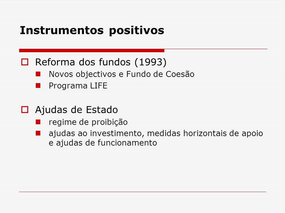 Instrumentos positivos Reforma dos fundos (1993) Novos objectivos e Fundo de Coesão Programa LIFE Ajudas de Estado regime de proibição ajudas ao investimento, medidas horizontais de apoio e ajudas de funcionamento