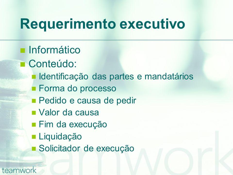 Requerimento executivo Informático Conteúdo: Identificação das partes e mandatários Forma do processo Pedido e causa de pedir Valor da causa Fim da execução Liquidação Solicitador de execução