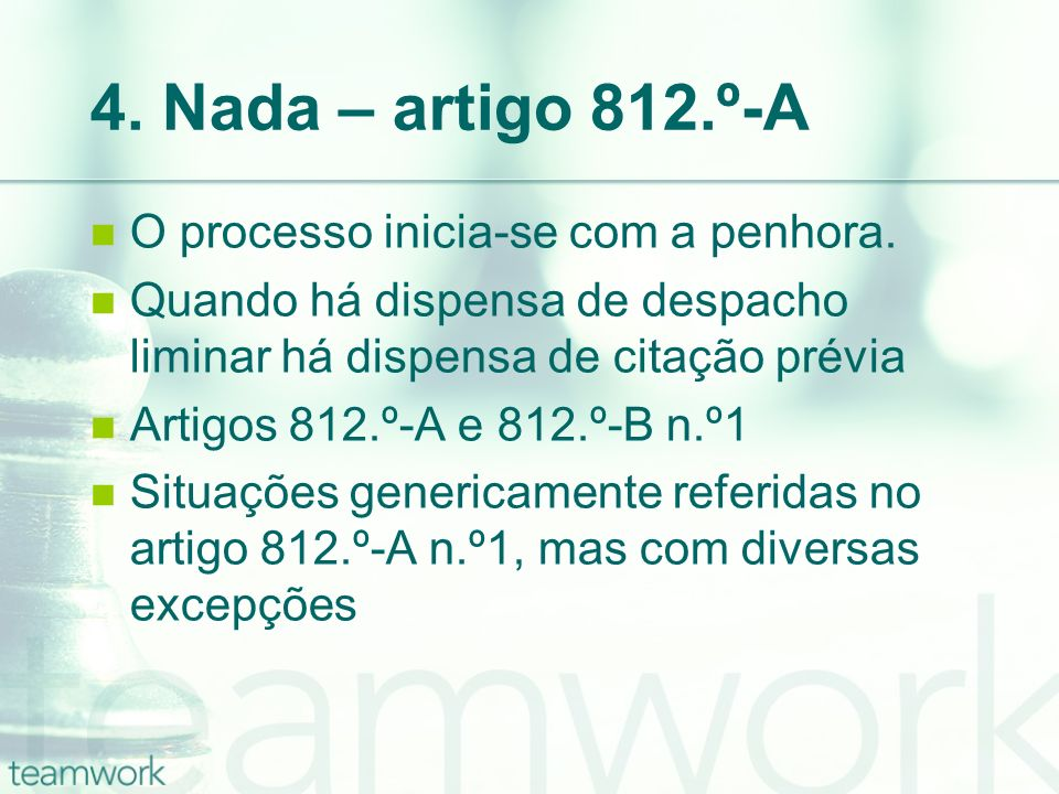 4. Nada – artigo 812.º-A O processo inicia-se com a penhora.