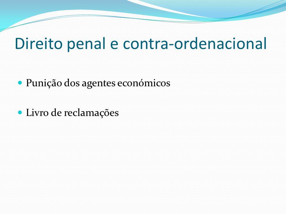 Direito penal e contra-ordenacional Punição dos agentes económicos Livro de reclamações