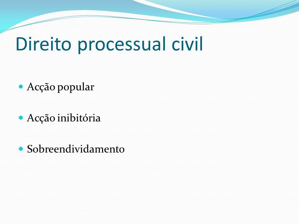 Direito processual civil Acção popular Acção inibitória Sobreendividamento