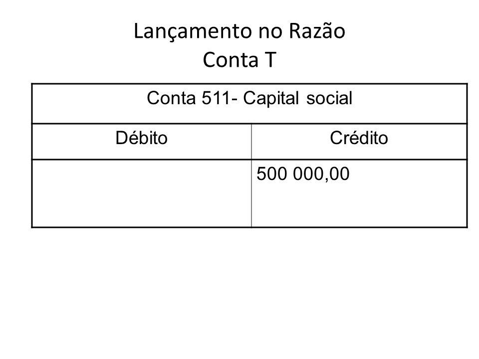 Lançamento no Razão Conta T Conta 511- Capital social DébitoCrédito 500 000,00