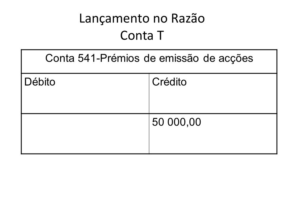 Lançamento no Razão Conta T Conta 541-Prémios de emissão de acções DébitoCrédito 50 000,00