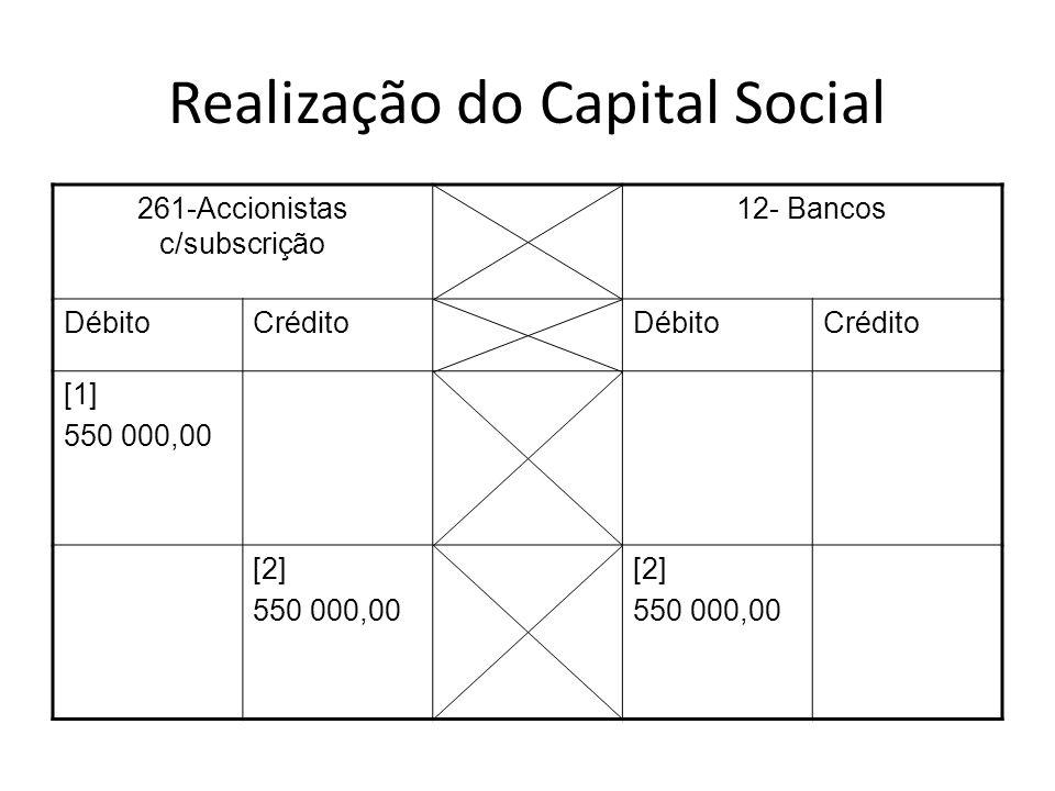 Realização do Capital Social 261-Accionistas c/subscrição 12- Bancos DébitoCréditoDébitoCrédito [1] 550 000,00 [2] 550 000,00 [2] 550 000,00