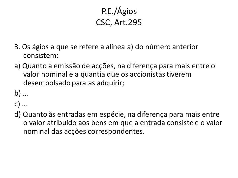 P.E./Ágios CSC, Art.295 3. Os ágios a que se refere a alínea a) do número anterior consistem: a) Quanto à emissão de acções, na diferença para mais en