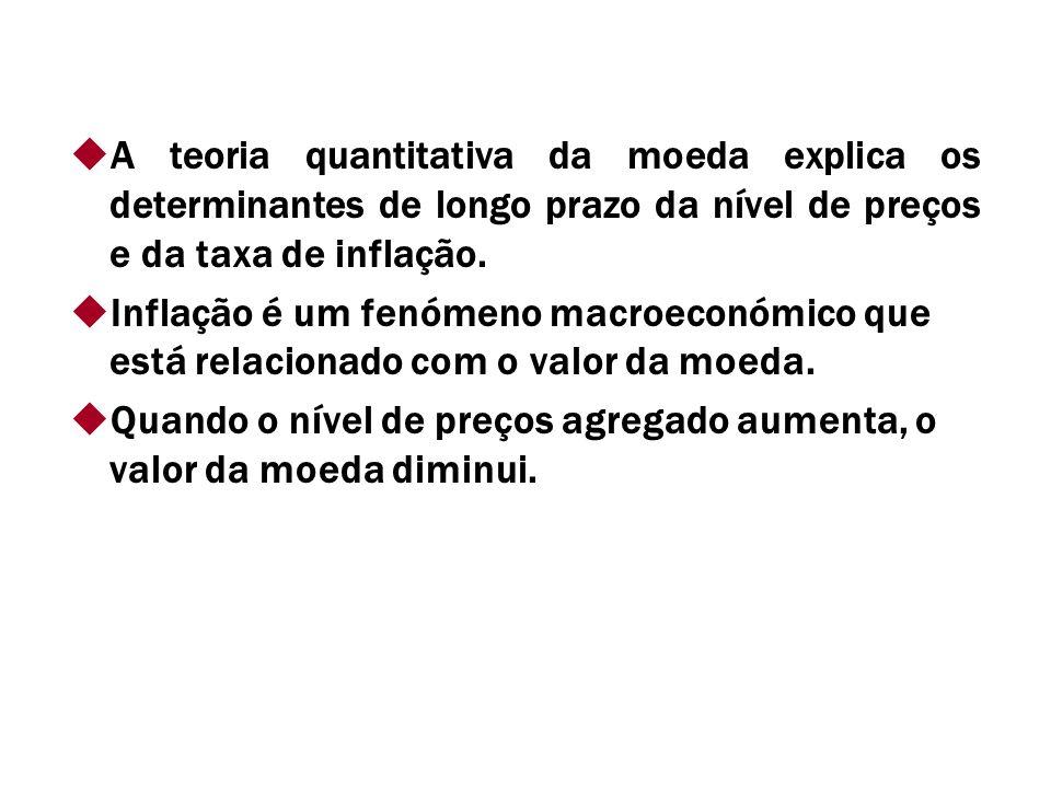 A teoria quantitativa da moeda explica os determinantes de longo prazo da nível de preços e da taxa de inflação.
