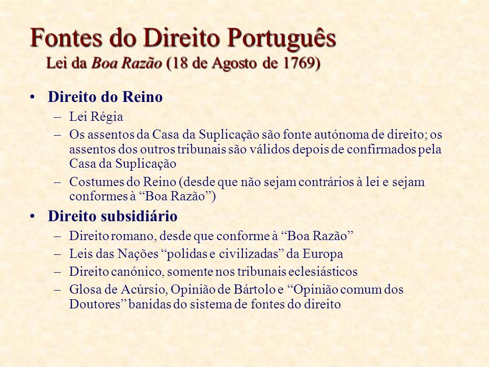 Fontes do Direito Português Lei da Boa Razão (18 de Agosto de 1769) Direito do Reino –Lei Régia –Os assentos da Casa da Suplicação são fonte autónoma