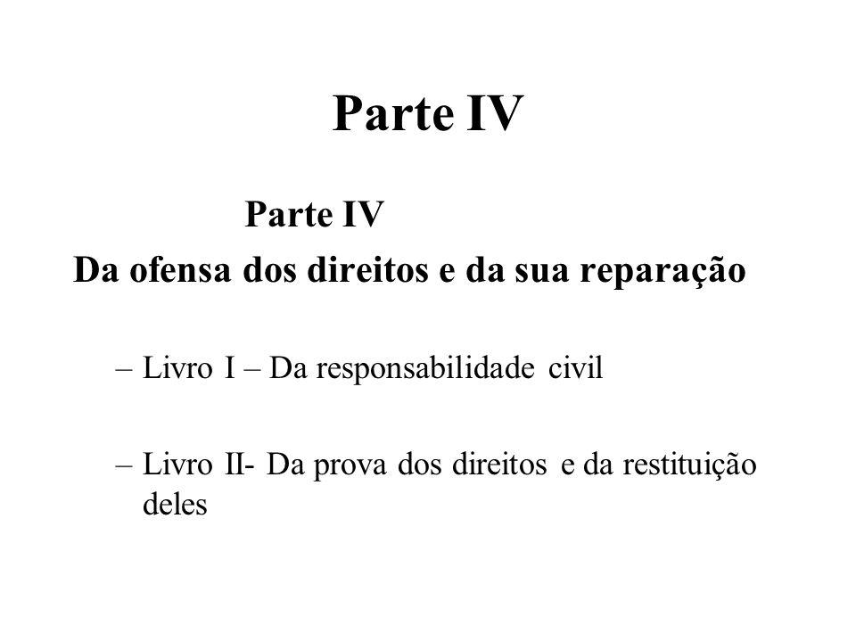 Parte IV Da ofensa dos direitos e da sua reparação –Livro I – Da responsabilidade civil –Livro II- Da prova dos direitos e da restituição deles