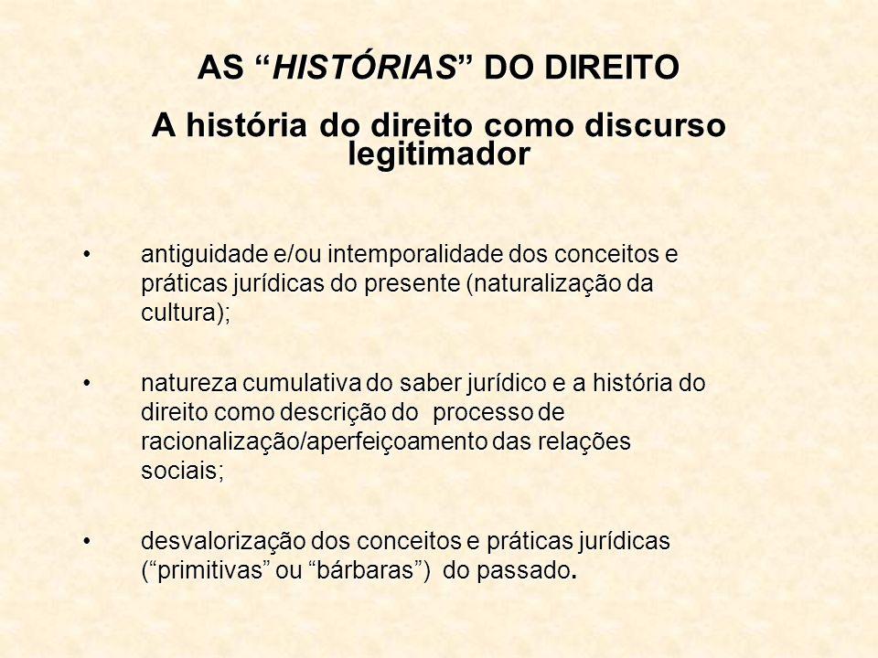 AS HISTÓRIAS DO DIREITO A história do direito como discurso legitimador antiguidade e/ou intemporalidade dos conceitos e práticas jurídicas do present