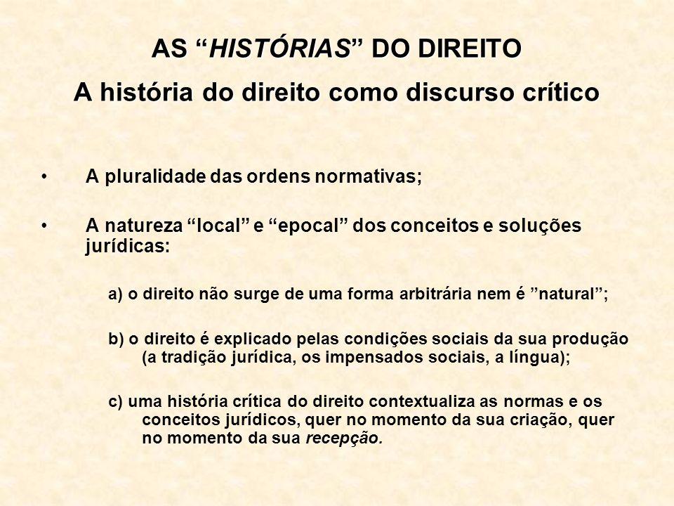 AS HISTÓRIAS DO DIREITO A história do direito como discurso crítico A pluralidade das ordens normativas; A natureza local e epocal dos conceitos e sol