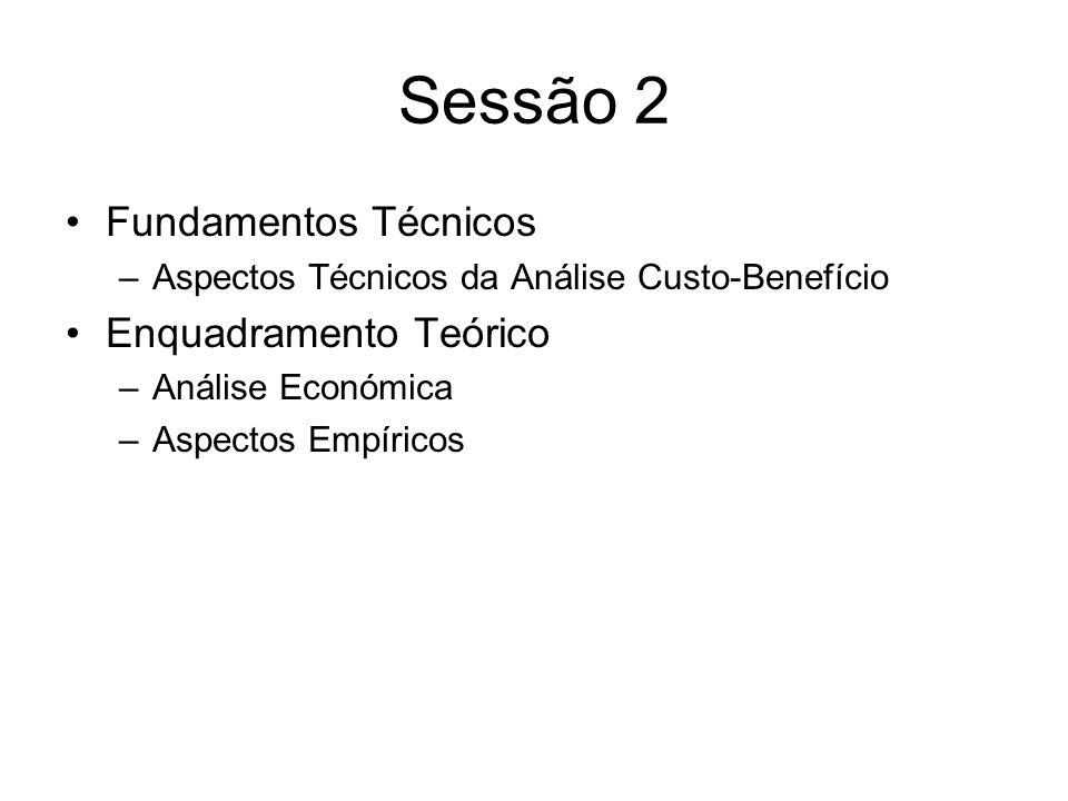 Sessão 2 Fundamentos Técnicos –Aspectos Técnicos da Análise Custo-Benefício Enquadramento Teórico –Análise Económica –Aspectos Empíricos