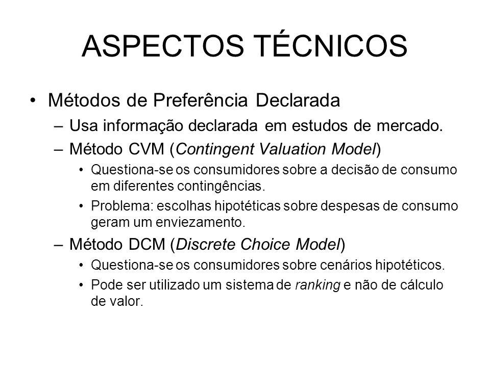 ASPECTOS TÉCNICOS Métodos de Preferência Declarada –Usa informação declarada em estudos de mercado. –Método CVM (Contingent Valuation Model) Questiona