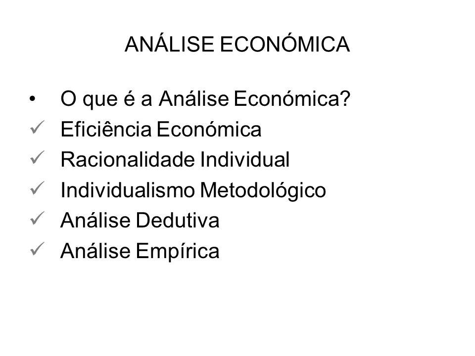 ANÁLISE ECONÓMICA O que é a Análise Económica? Eficiência Económica Racionalidade Individual Individualismo Metodológico Análise Dedutiva Análise Empí