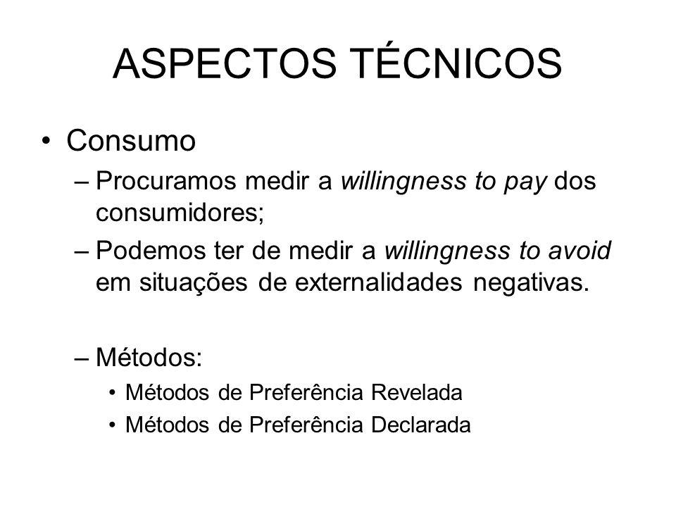 ASPECTOS TÉCNICOS Consumo –Procuramos medir a willingness to pay dos consumidores; –Podemos ter de medir a willingness to avoid em situações de extern