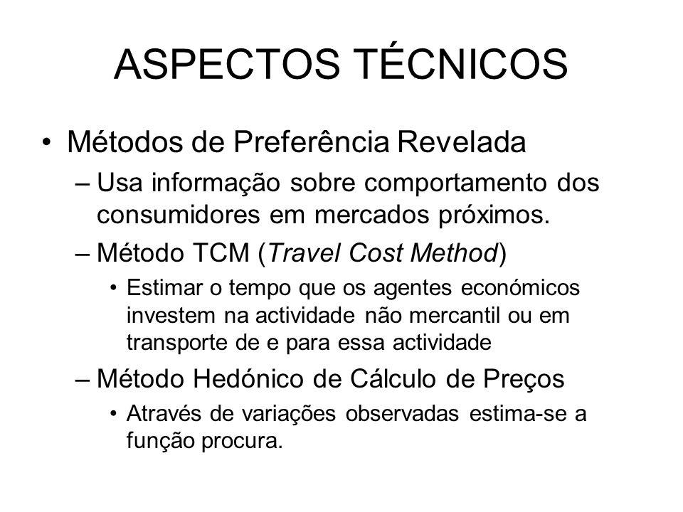 ASPECTOS TÉCNICOS Métodos de Preferência Revelada –Usa informação sobre comportamento dos consumidores em mercados próximos. –Método TCM (Travel Cost
