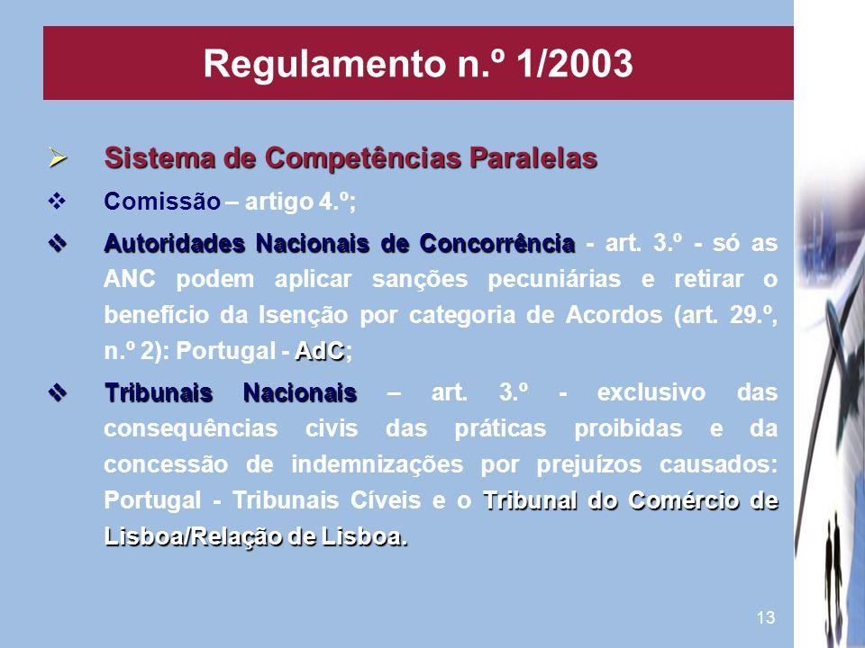 13 Sistema de Competências Paralelas Sistema de Competências Paralelas Comissão – artigo 4.º; Autoridades Nacionais de Concorrência AdC Autoridades Na