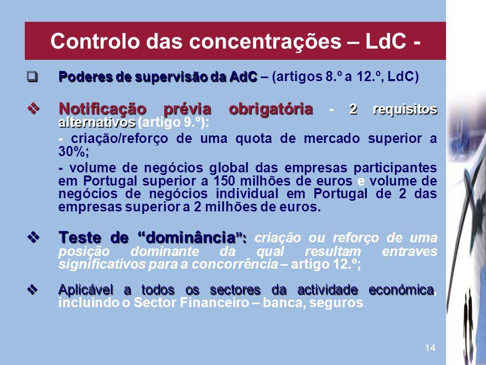 14 Poderes de supervisão da AdC Poderes de supervisão da AdC – (artigos 8.º a 12.º, LdC) Notificação prévia obrigatória 2 requisitos alternativos Noti