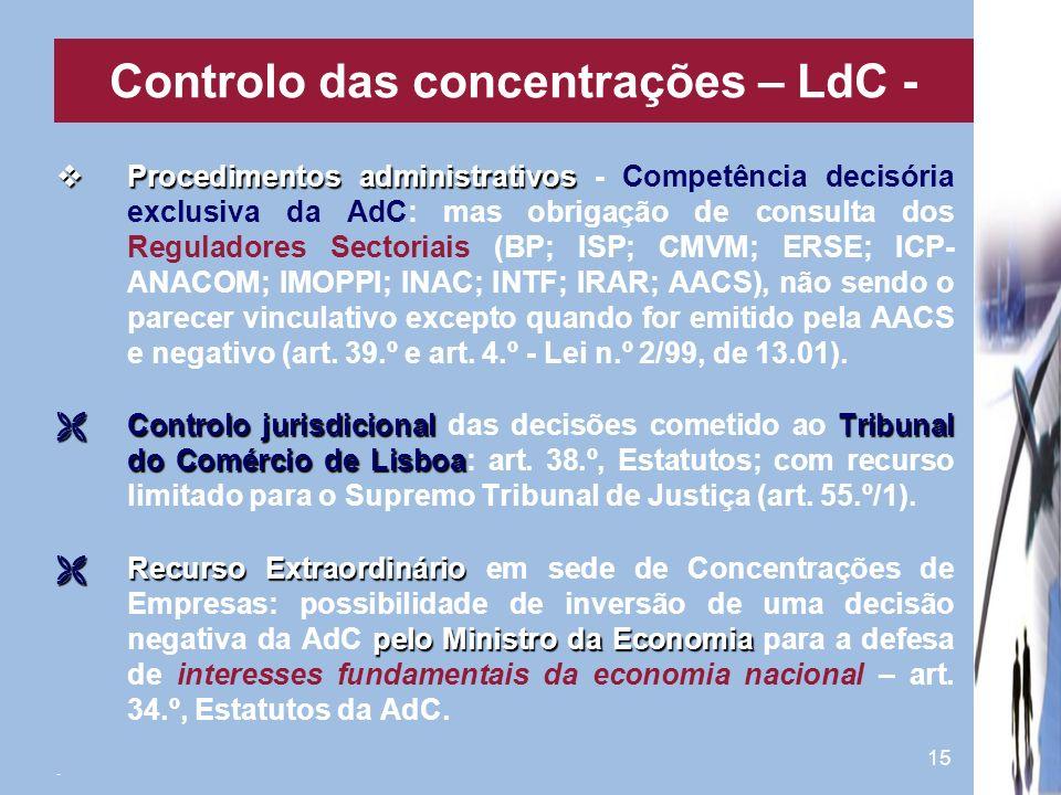 15 Procedimentos administrativos Procedimentos administrativos - Competência decisória exclusiva da AdC: mas obrigação de consulta dos Reguladores Sec
