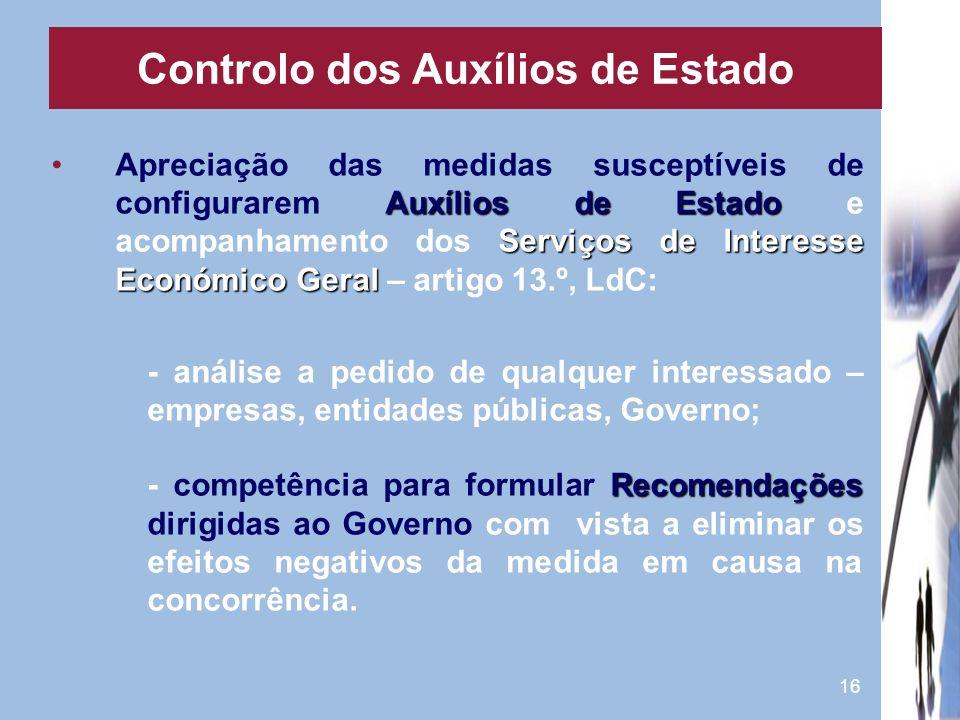 16 Auxílios de Estado Serviços de Interesse Económico GeralApreciação das medidas susceptíveis de configurarem Auxílios de Estado e acompanhamento dos