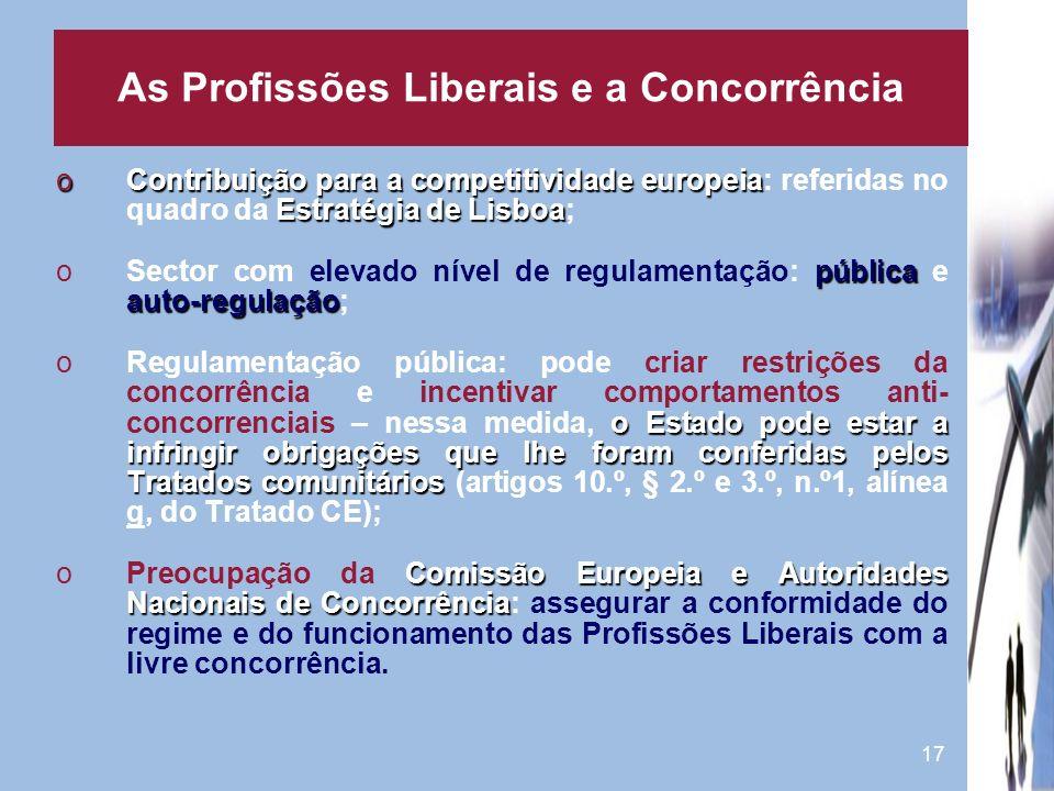 17 oContribuição para a competitividade europeia Estratégia de Lisboa oContribuição para a competitividade europeia: referidas no quadro da Estratégia