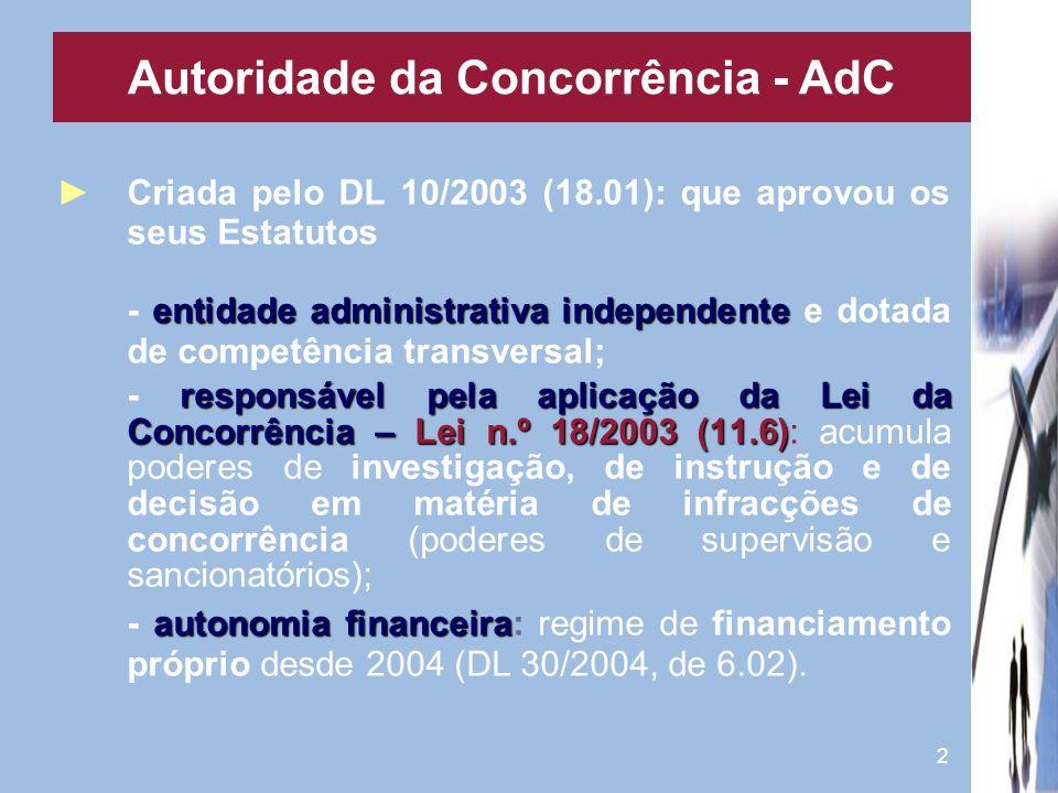 2 Criada pelo DL 10/2003 (18.01): que aprovou os seus Estatutos entidade administrativa independente - entidade administrativa independente e dotada d