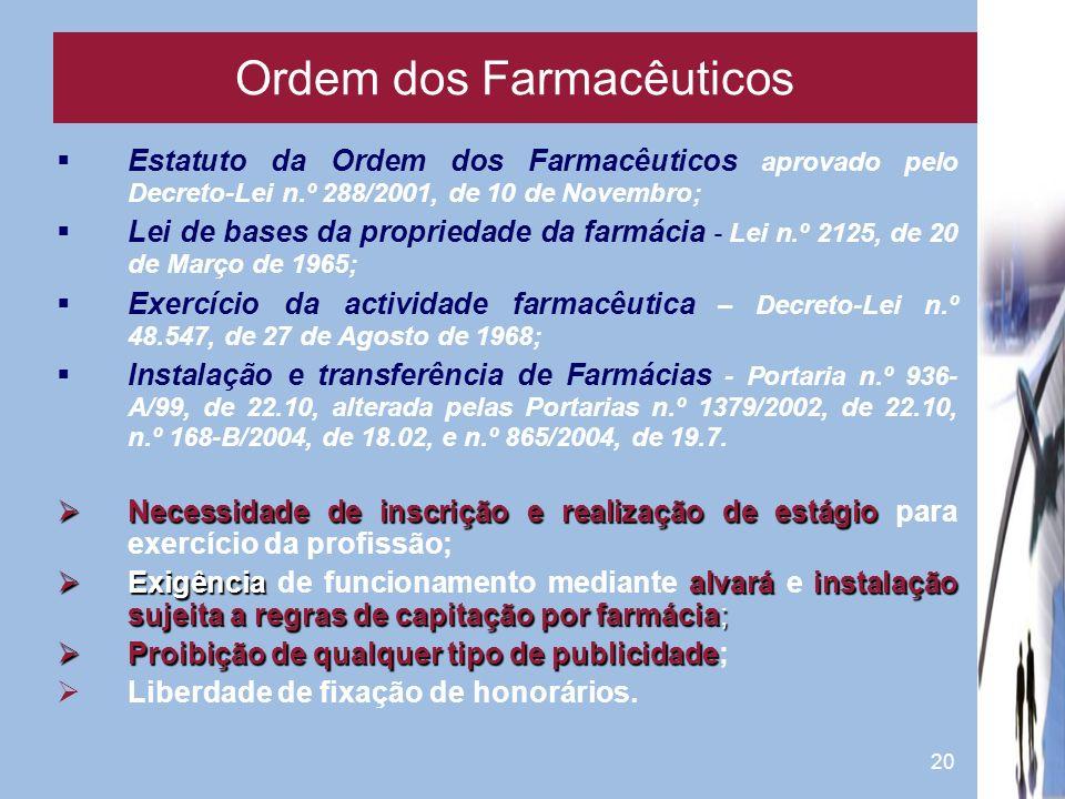 20 Estatuto da Ordem dos Farmacêuticos aprovado pelo Decreto-Lei n.º 288/2001, de 10 de Novembro; Lei de bases da propriedade da farmácia - Lei n.º 21