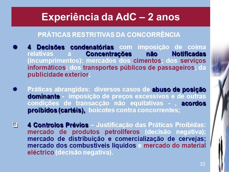 22 PRÁTICAS RESTRITIVAS DA CONCORRÊNCIA 4 Decisões condenatórias Concentrações não Notificadas 4 Decisões condenatórias com imposição de coima relativ