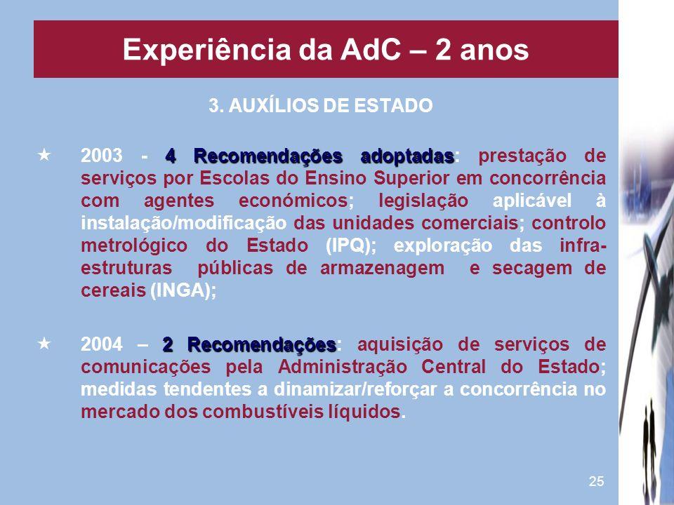 25 3. AUXÍLIOS DE ESTADO 4 Recomendações adoptadas 2003 - 4 Recomendações adoptadas: prestação de serviços por Escolas do Ensino Superior em concorrên