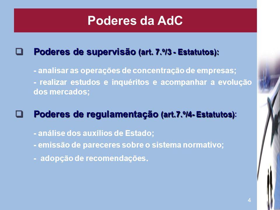 4 Poderes de supervisão (art. 7.º/3 - Estatutos): Poderes de supervisão (art. 7.º/3 - Estatutos): - analisar as operações de concentração de empresas;
