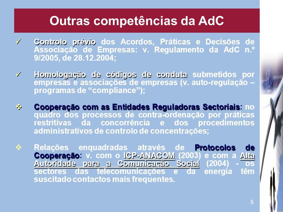 5 Controlo prévio Controlo prévio dos Acordos, Práticas e Decisões de Associação de Empresas: v. Regulamento da AdC n.º 9/2005, de 28.12.2004; Homolog