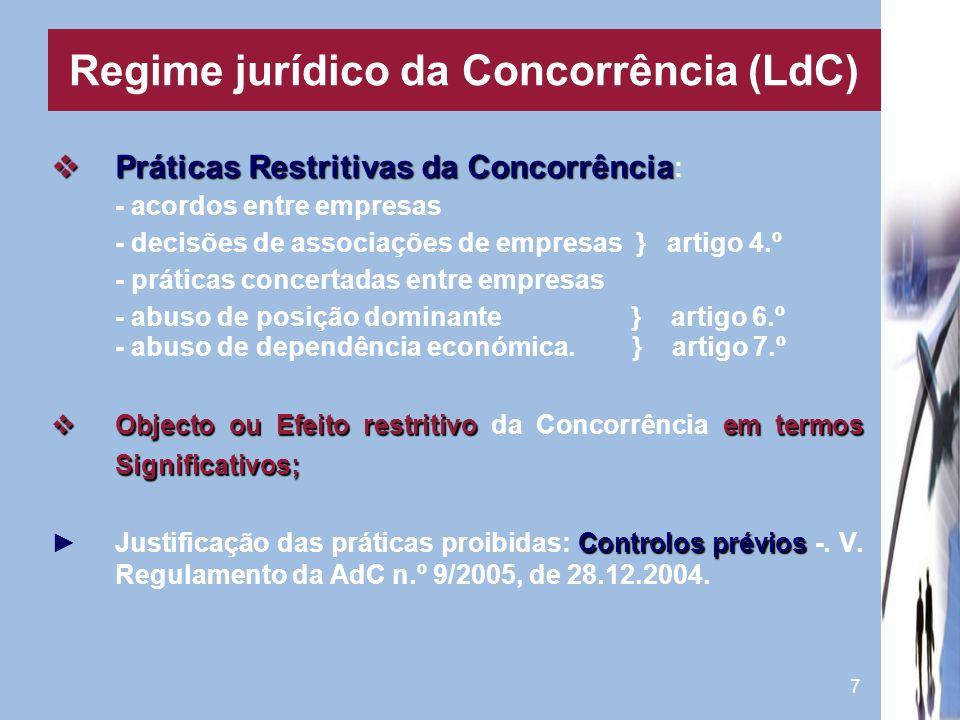 7 Práticas Restritivas da Concorrência Práticas Restritivas da Concorrência : - acordos entre empresas - decisões de associações de empresas } artigo