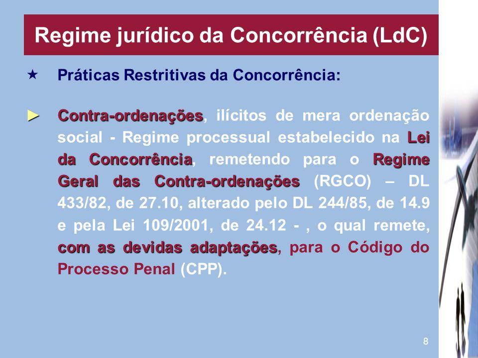 8 Práticas Restritivas da Concorrência: Contra-ordenações Lei da ConcorrênciaRegime Geral das Contra-ordenações com as devidas adaptaçõesContra-ordena