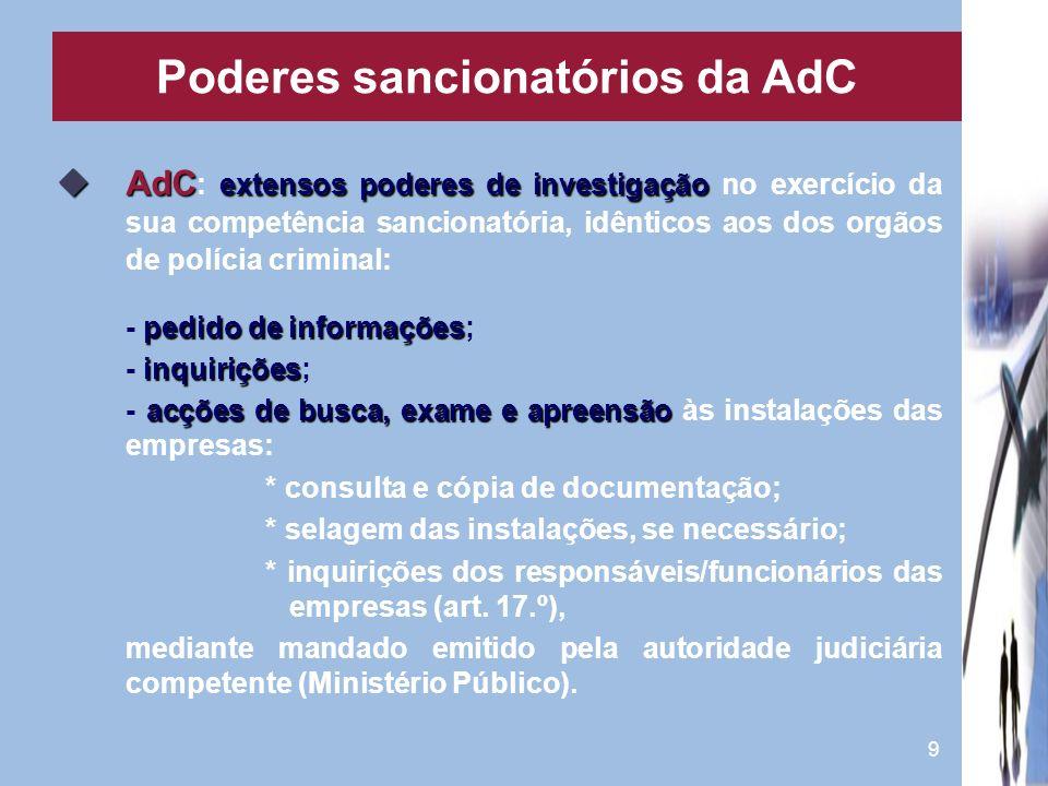 9 AdC extensos poderes de investigação AdC : extensos poderes de investigação no exercício da sua competência sancionatória, idênticos aos dos orgãos
