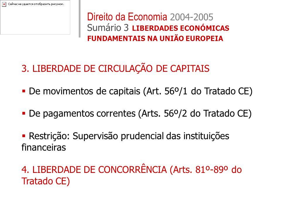 3. LIBERDADE DE CIRCULAÇÃO DE CAPITAIS De movimentos de capitais (Art. 56º/1 do Tratado CE) De pagamentos correntes (Arts. 56º/2 do Tratado CE) Restri