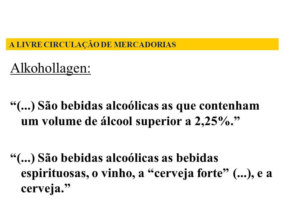 Alkohollagen: (...) São bebidas alcoólicas as que contenham um volume de álcool superior a 2,25%. (...) São bebidas alcoólicas as bebidas espirituosas