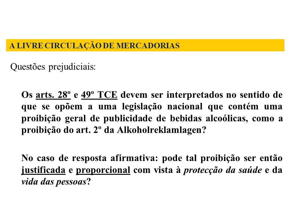 Questões prejudiciais: Os arts. 28º e 49º TCE devem ser interpretados no sentido de que se opõem a uma legislação nacional que contém uma proibição ge
