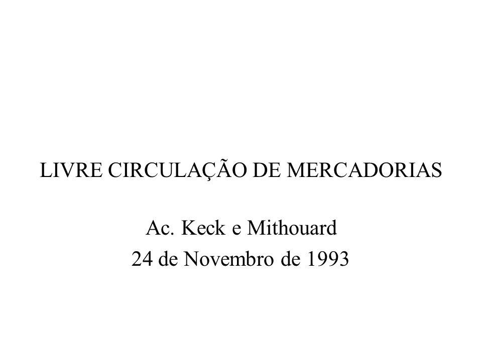 LIVRE CIRCULAÇÃO DE MERCADORIAS Ac. Keck e Mithouard 24 de Novembro de 1993
