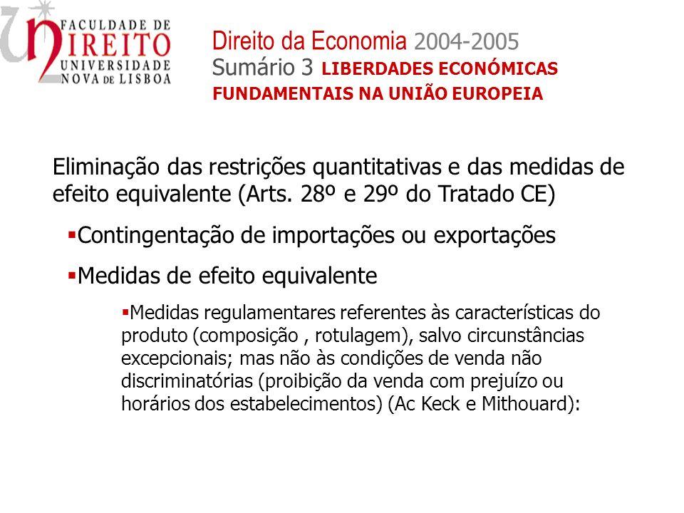 Eliminação das restrições quantitativas e das medidas de efeito equivalente (Arts. 28º e 29º do Tratado CE) Contingentação de importações ou exportaçõ