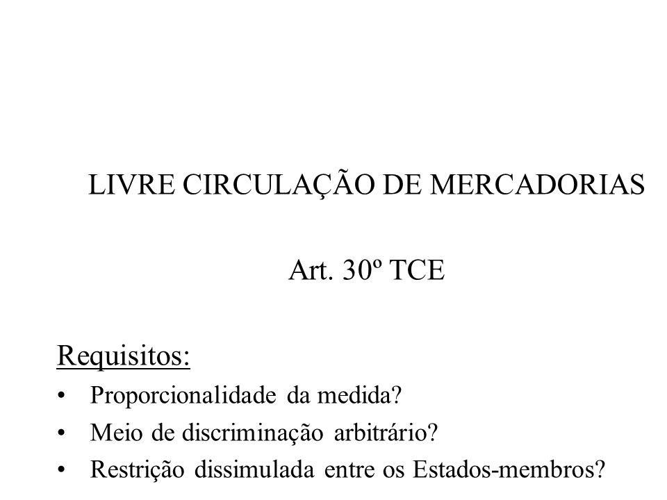 LIVRE CIRCULAÇÃO DE MERCADORIAS Art. 30º TCE Requisitos: Proporcionalidade da medida? Meio de discriminação arbitrário? Restrição dissimulada entre os