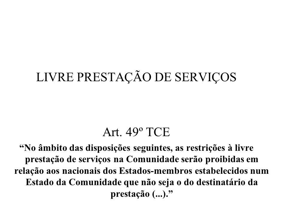 LIVRE PRESTAÇÃO DE SERVIÇOS Art. 49º TCE No âmbito das disposições seguintes, as restrições à livre prestação de serviços na Comunidade serão proibida